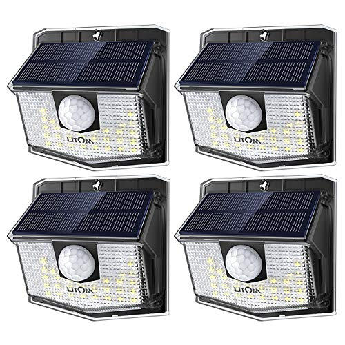 LITOM Lite 30 LED Solar Lights Outdoor, Wireless Easy to Install Motion Sensor Light with 270° Wide Angle, IP65 Waterproof Solar Security Light For Front Door, Yard, Garage, Garden, Patio, Deck-4 Pack