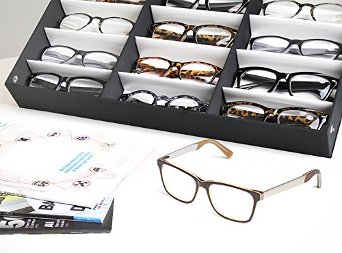 Juvale Eyewear Storage Tray Display Case - 18 Slots Eyeglasses Sunglasses - 18.5 x 14.25 x 2.5 inches by Juvale (Image #1)