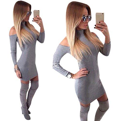 Cheap Dressing Up Ideas (Gillberry Women Winter Off Shoulder Long Sleeve Sweater Jumper Knit Dress (S, Gray))
