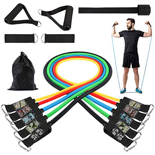 Turefans Resistance Bands Set, 11PC Exercise Bands Workout Bands with Door Anchor, Handles, Ankle Straps and Carry Bag for Resistance Training and Body Stretching Physical Therapy by Turefans