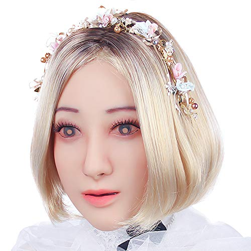 Soft Silicone Realistic Female Head Mask Handmade Face Cosplay Apparel for Crossdresser Transgender 1G Tan -