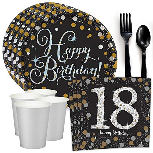 Costume SuperCenter Sparkling Celebration 18th Birthday Standard Tableware Kit (Serves 8) ()