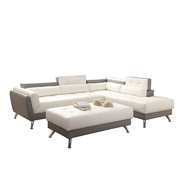 Poundex Bobkona Jolie Bonded Leather 3Piece SECTIONAL Set with Extra Large Ottoman in White & Gray Two Tone, Gray and White
