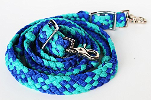 - PRORIDER Horse Knotted Roping Western Barrel Reins Nylon Braided Rein Turquoise 607133