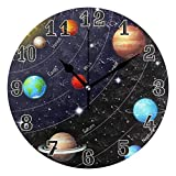 funnyy Universe Space Planet Solar System Round Acrylic Wall Clock, Silent Non Ticking Art Painting Clock for kids Girls Children Bedroom Living Room School Home Decor