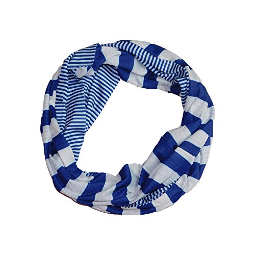 (Tickled Pink Women's Game Day Sports Team Apparel Scarf or Wrap, Stripes Infinity/10x31