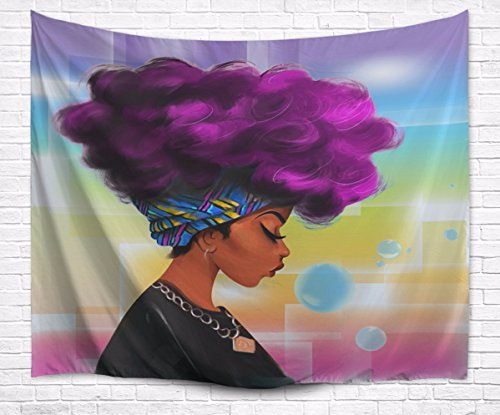 A.Monamour Traditional African Black Women With Purple Hair Afro Hairstyle Watercolor Portrait Picture Print Textile Wall Hanging Tapestry for Bedroom Decors 153x102cm/60