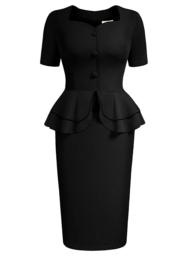 Vintage Evening Dresses and Formal Evening Gowns AISIZE Women 1940s Vintage Sweetheart Ruffles Peplum Dress $34.99 AT vintagedancer.com