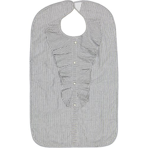 Lady's Adult Waterproof Bib, Gray Sparkle Stripe, Frenchie Mini Couture (Couture Bib)