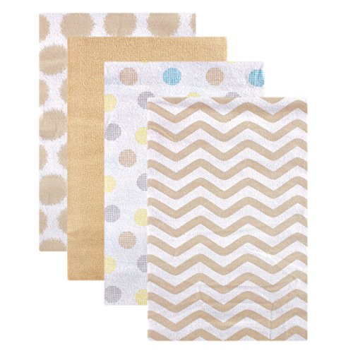 Luvable Friends Flannel Receiving Blankets, Tan Dots, 4 Count