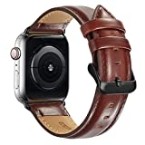 Compatible Apple Watch Band 42mm 44mm, MAPUCE Genuine Leather Bands with Stainless Metal Buckle Replacement Strap Compatible iWatch Series 4 &3&2&1with Black Adapter, Dark Brown,Men