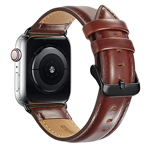 Compatible Apple Watch Band 42mm 44mm, MAPUCE Classic Style Genuine Leather Bands with Stainless Metal Buckle Replacement Strap Compatible iWatch Series 4 &3&2&1with Black Adapter, Dark Brown