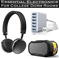 Essential Electronics College Dorm Room Accessories Includes Photive Lightweight Bluetooth Headphones + Photive Wireless Rugged Waterproof Bluetooth Speaker + 60 Watt 6 Port USB Desktop Rapid Charger
