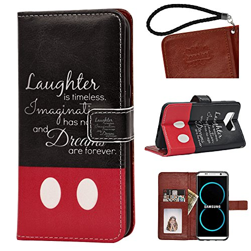 Samsung Galaxy S8 Plus PU Leather Wallet Case, Onelee – Walt Disney Quotes Premium PU Leather Stand Case Back Protector for Samsung Galaxy S8 Plus with Card Slots