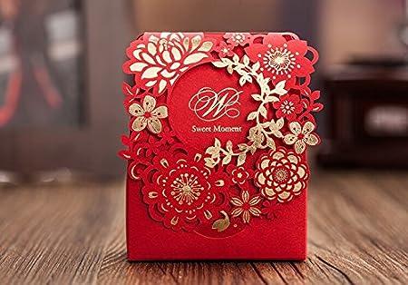 Erosión 50 x decoración de la boda bolsa de regalo rojo flor ...