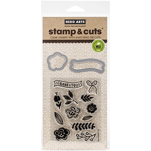Hero Arts Stamp and Cut Flowers Stamp with Matching Die Cut Set