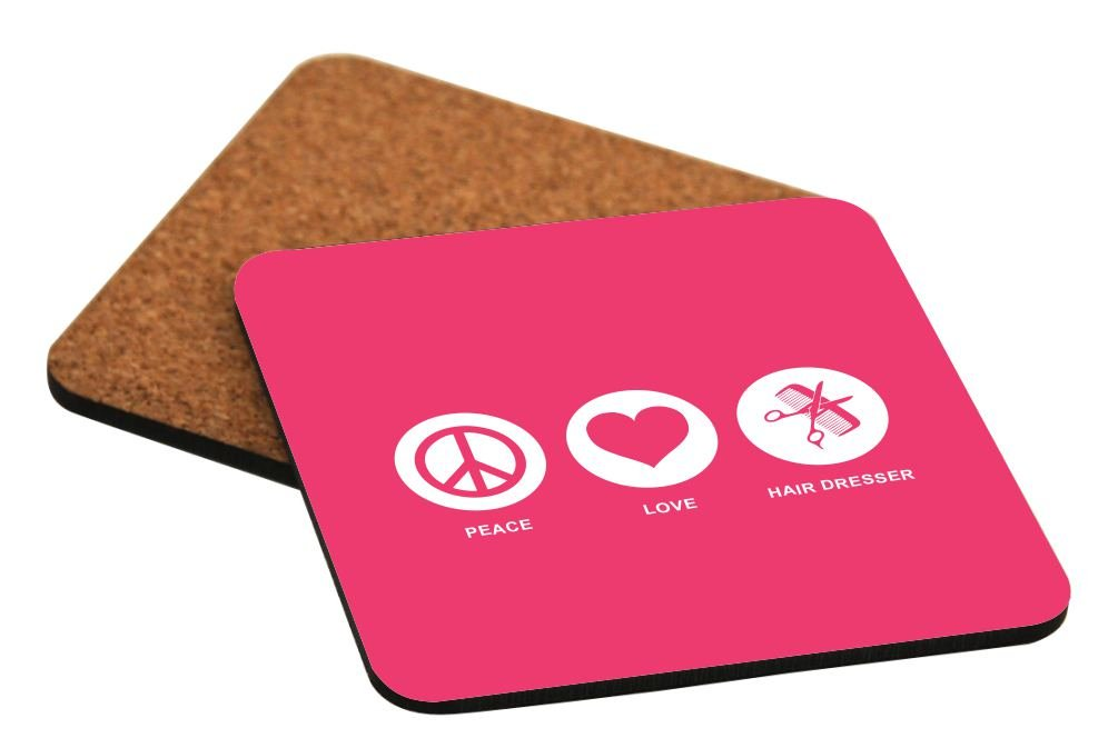 Rikki Knight Peace Love Hair Dresser Tropical Pink Color Design Cork Backed Hard Square Beer Coasters Brown 2-Pack 4-Inch