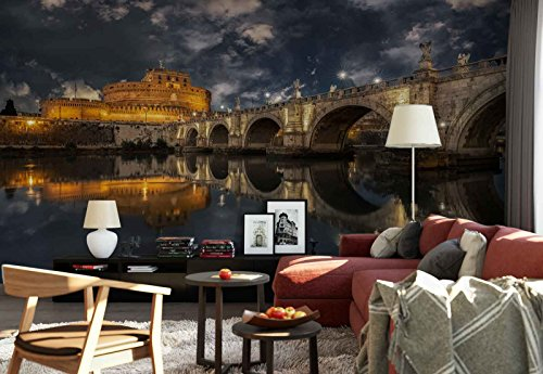 Photo wallpaper wall mural - Stonewall Bridge Colosseum Reflection - Theme Travel & Maps - L - 8ft 4in x 6ft (WxH) - 2 Pieces - Printed on 130gsm Non-Woven Paper - 1X-1257535V4 by Fotowalls Photo Wallpaper Murals