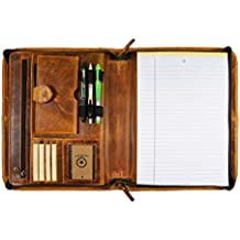 Premium Genuine Leather Business Portfolio and Professional Organizer, with a Zippered Closure,by Aaron Leather (Tawny Brown)