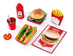 Ready for a treat. Tonight, we are eating in a fast food restaurant! This American-style dinner kit includes a menu plus a realistic burger, hotdog, French fries and Cola.this amazing playset creates more fun and realistic experience allowing...