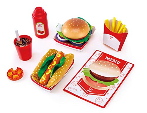 Hape Fast Food Set |Wooden Diner Fast Food Toy Set, Classic American Meal for Pretend Play Includes Burger, French Fries, Hotdogs & Cola