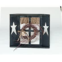 Rustic Primitive Country Small Star Cut Out Decorative Window Amish Made in USA -Burgundy
