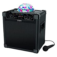 ION Audio Party Rocker Plus   Rechargeable Speaker with Spinning Party Lights & Karaoke Effects (50W)