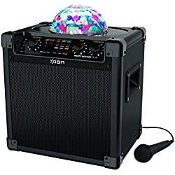 ION Audio Party Rocker Plus | Rechargeable Speaker with Spinning Party Lights & Karaoke Effects (50W)