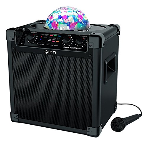 ION Audio Party Rocker Plus | Rechargeable Speaker with Spinning Party Lights & Karaoke Effects - Rocker Party The