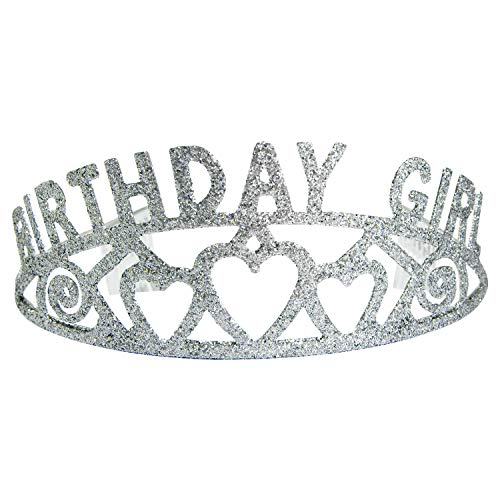 Houseables Birthday Tiara, Party Crown, 5.5 Inches, Silver, Plastic, Princess Crowns, Happy Bday Favors/Accessories, Novelty Hats for Women, Girls, Kids, Adults, Teens, Celebrations, Parties, Gifts ()