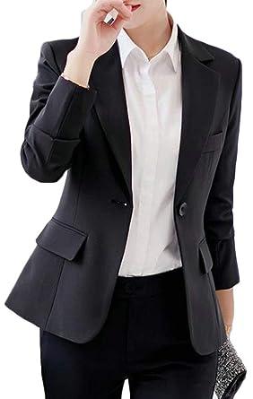 Big Tang Women Slim Fit Suit Coat One Button Long Sleeve Notched Lapel Blazer  Jacket Black 0095084cf2