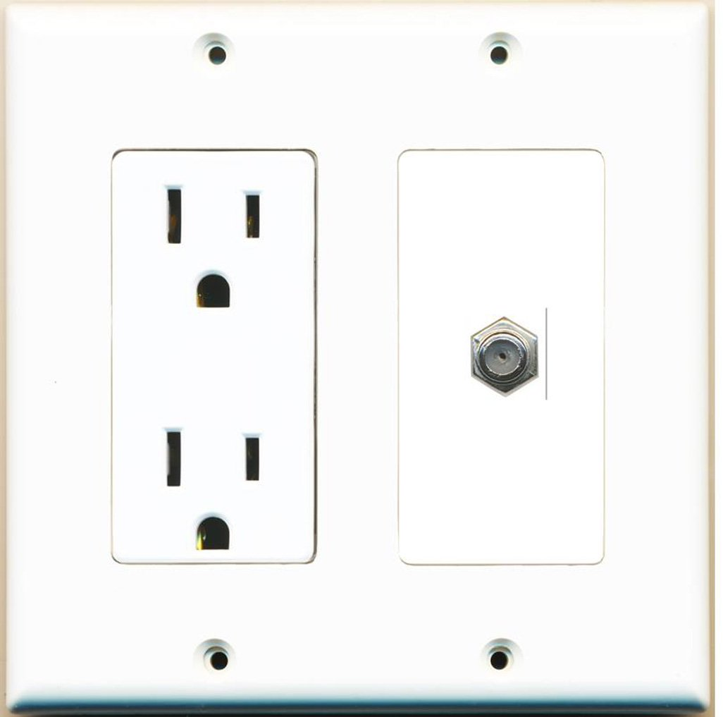 RiteAV - 15 Amp Power Outlet and 1 Port Coax Cable TV- F-Type Decora Type Wall Plate - White