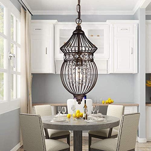 Bronze Chandeliers Globe Crystal Chandelier Lighting Bird Cage Ceiling Light Fixture 1 Light Pendant Light