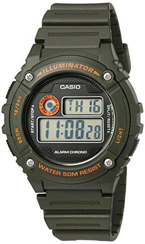 Casio Men's 'Illuminator' Quartz Resin Automatic Watch, Color:Green (Model: W-216H-3BVCF)