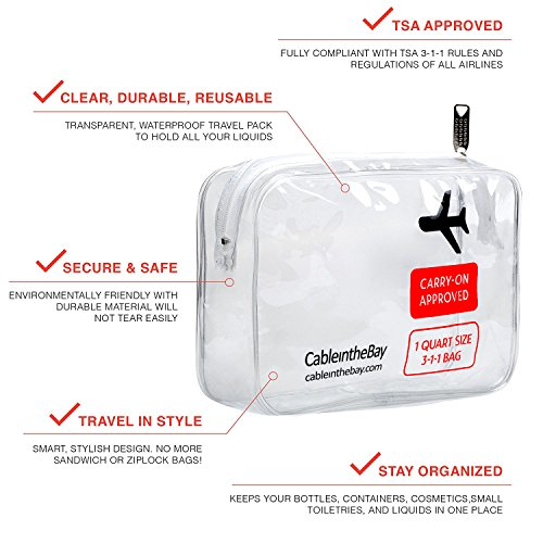 TSA Approved Clear Travel Toiletry Bag | Quart Sized with Zipper ...