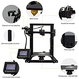 3D Printer with Touch Screen Tronxy XY-2 Semi-Assembled with Free Sample PLA Filament 8G SD Card Preloaded Printable 3D Models (3D Printing Machine) by TRONXY