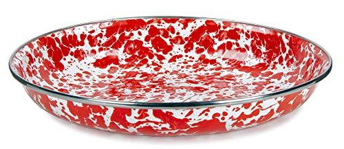 10 Inch Enamelware Plate - Golden Rabbit Enamelware - Red Swirl Pattern - 10 Inch Pasta Plate