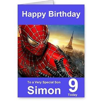 Personalised Spiderman Birthday Card Amazon Co Uk Kitchen Home