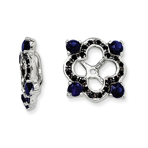 Sterling Silver Created Sapphire & Black Sapphire Earring Jacket by CoutureJewelers