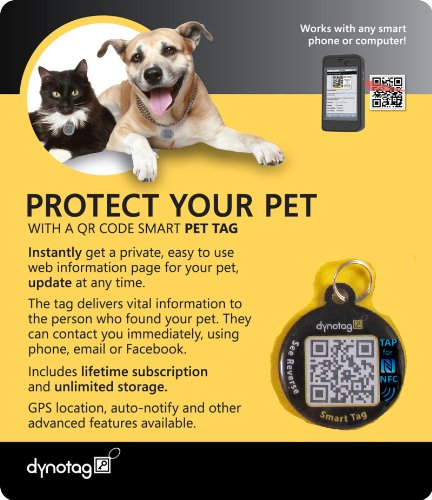 Dynotag Web/GPS Enabled QR Code Smart Round NFC Enabled Tag w. Ring. Pet Tag, Property Tag - Multiple Uses.