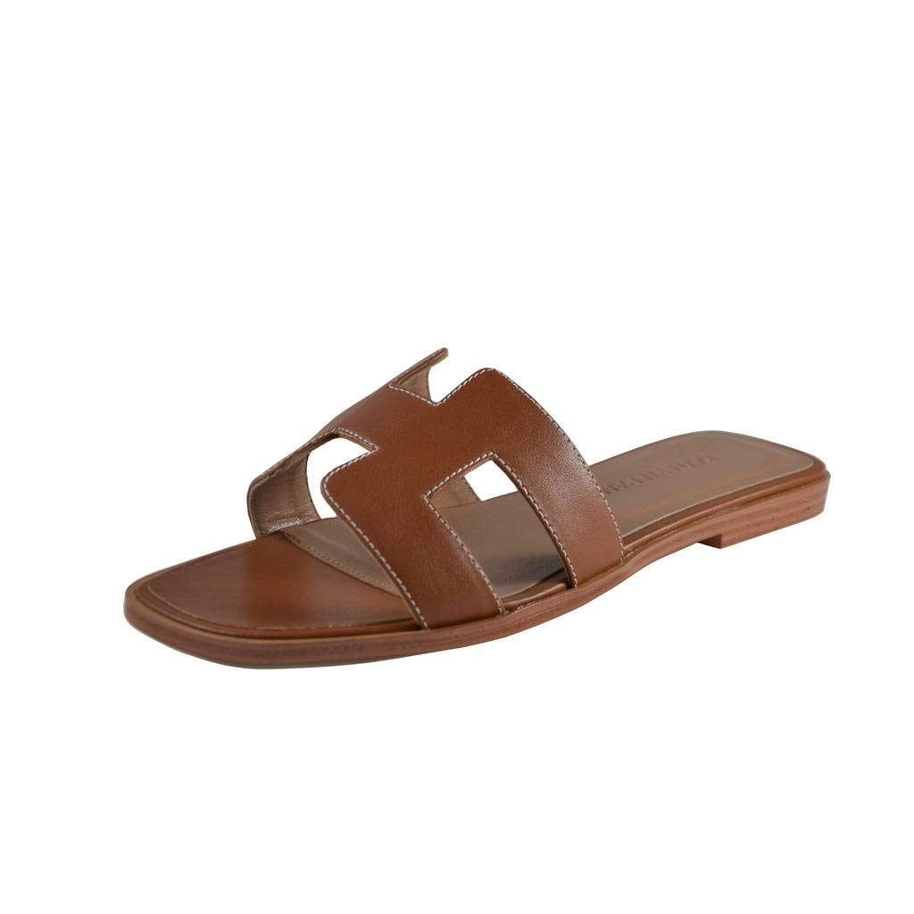 Kaitlyn Pan Genuine Leather Classic Cut Out Kaylee Slippers