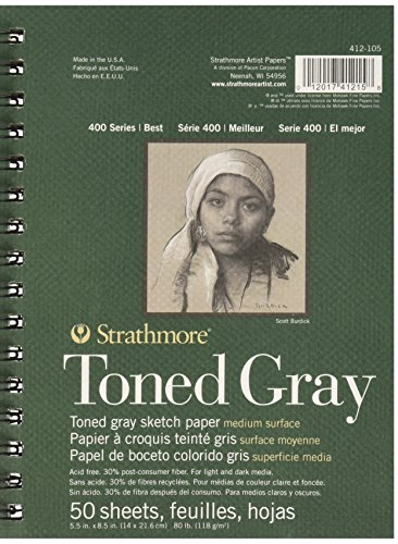 Strathmore Spiral Toned Sketch Book 5.5″X8.5″-Gray 50 Sheets