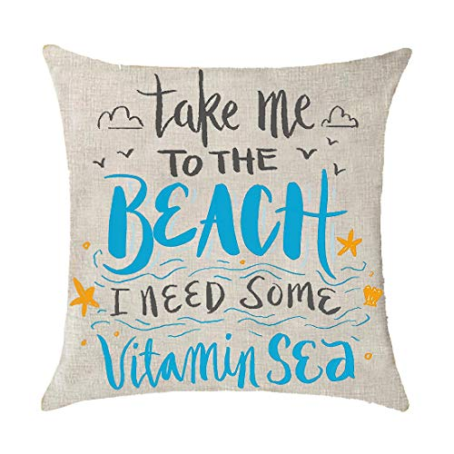 Sea Beach Quote Take Me to The Beach I Need Some Vitamin Seastar Gift Holiday Cotton Linen Throw Pillow Covers Case Cushion Cover Sofa Decorative Square 18x18 inch Decorative Pillow Wedding Birthday