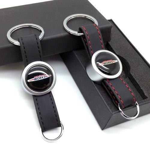 Stanniz(TM) JCW Mini Cooper Leather Metal Strap Keychain Key Loop Ring Fob Holder (Red)