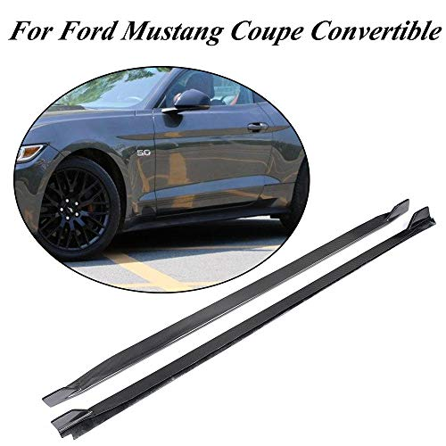 Extension Mustang Front Fender (JC SPORTLINE fits Ford Mustang Coupe Convertible 2-Door 2015-2019 Carbon Fiber Side Skirts Aprons Spoiler Body Kits(Non Shelby GT350))