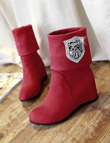 A Eu41 De Redonda Cn43 Mujer Negro Black La 5 Moda 5 Tacón 10 Zapatos Xzz 5 Rojo Punta Marrón us10 8 Vellón 5 Brown Uk7 Botas Vestido Uk8 Eu42 Cuña Cn42 us9 npq58WYw