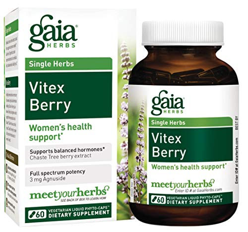 Gaia Herbs Vitex Berry, Vegan Liquid Capsules, 60 Count - Hormone Balance for Women, Organic Vitex Chasteberry Extract (1000 mg)