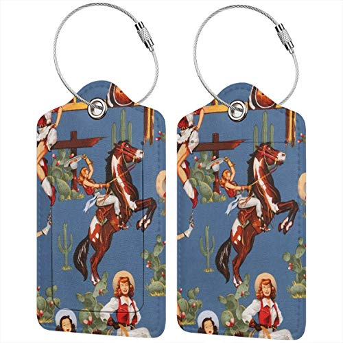 Godzigod Luggage Tags Synthetic Leather Name ID Labels Instrument Tag with Back Privacy Cover for Travel Baggage Bag Suitcase Sexy Lady Cowgirl Western Girl