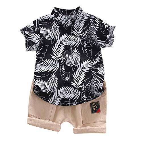 95sCloud Kledingset voor peuters, babyjongens, kleding, Hawaii, vakantie, korte mouwen, bladprint, T-shirt tops + korte…