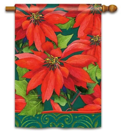 Holiday Poinsettia House Flag by Windswept #93920